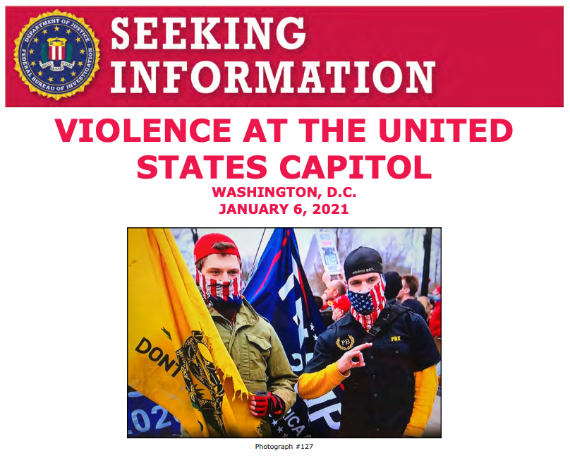 Help the #FBI identify these individuals who allegedly unlawfully entered the U.S. Capitol on January 6. If you have information, submit a tip at . When providing a tip on this photo, please refer to photograph 127.