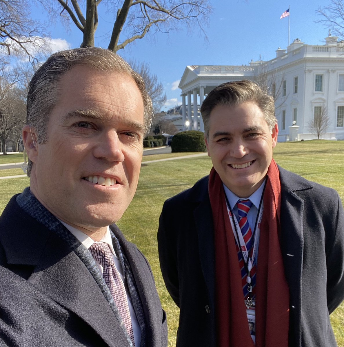 Just a couple of guys covering the WH on the last full day of Trump admin. Think we will finally have time for that drink now @PeterAlexander ?