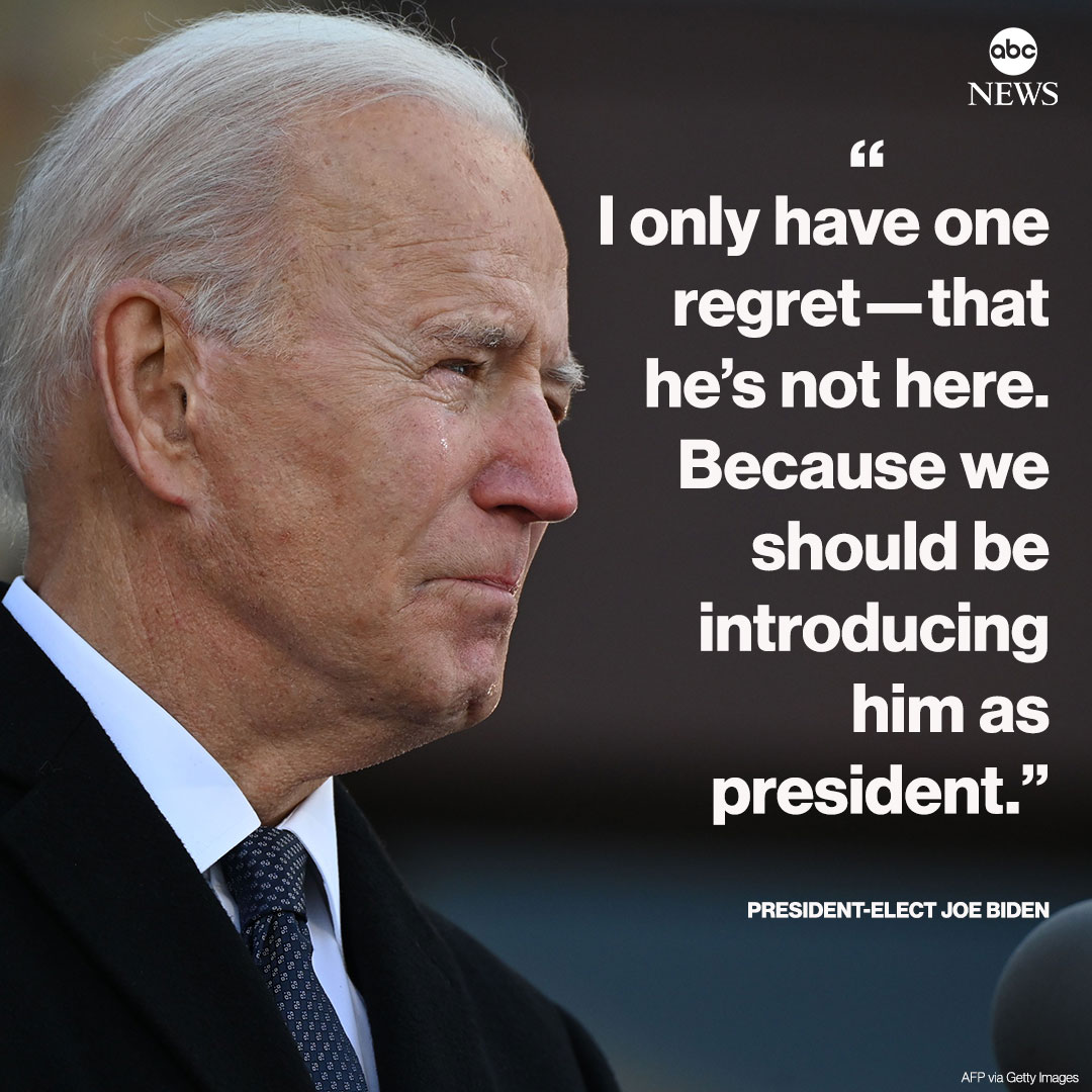 """A tearful Joe Biden honors his late son, Beau Biden, before heading to Washington to be sworn in as the 46th president of the United States.  """"I only have one regret— that he's not here. Because we should be introducing him as president."""""""