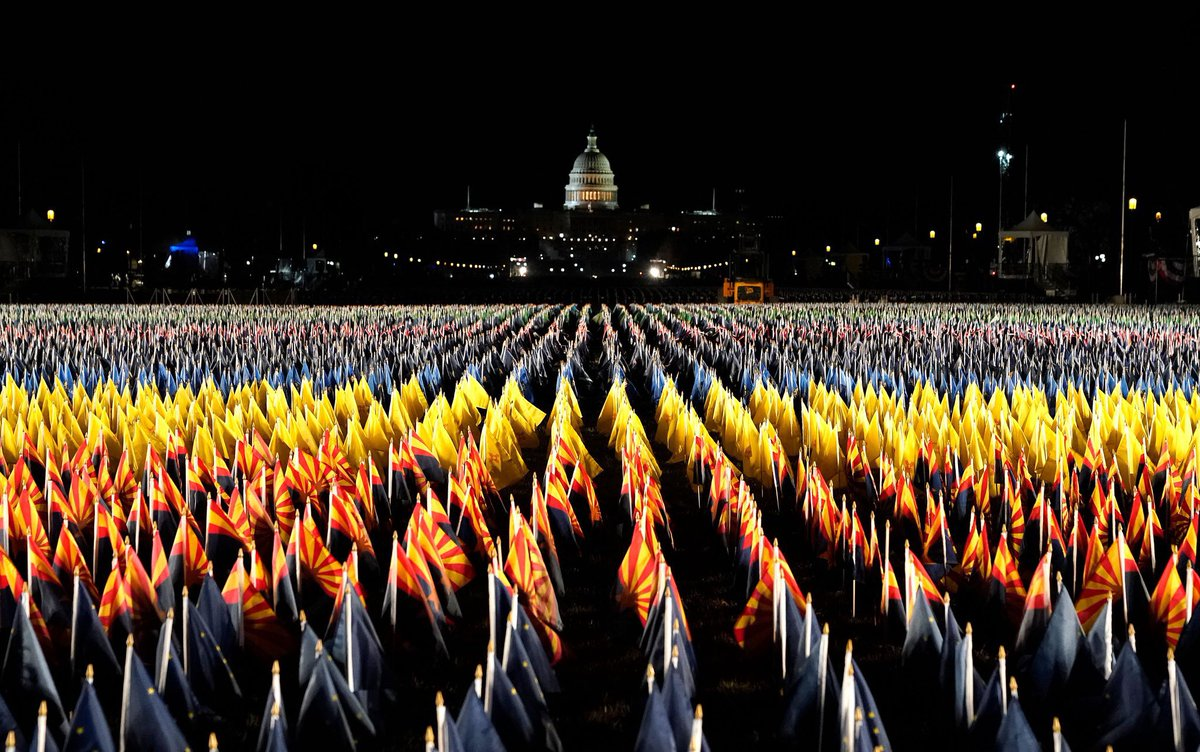 Replying to @PaulPolman: Already a sight to see. Nearly 200K flags to represent those we lost. #InaugurationDay