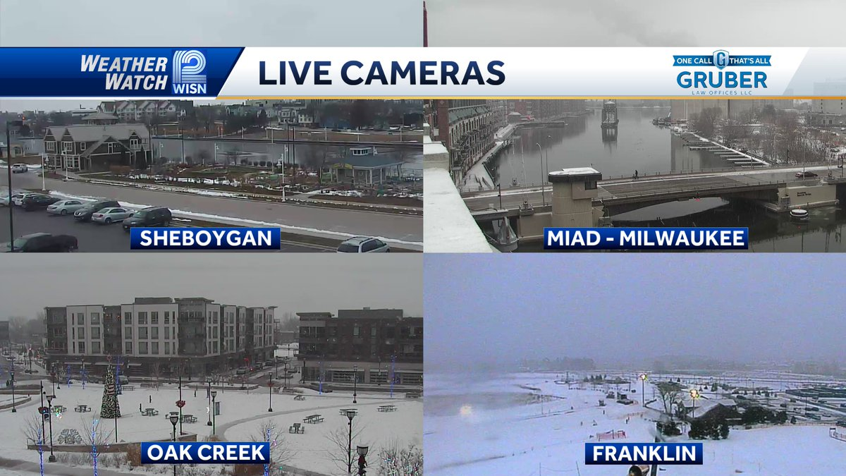 Big difference depending on where you are. No snow in Sheboygan. Moderate snow in Oak Creek, Milwaukee, and Franklin.