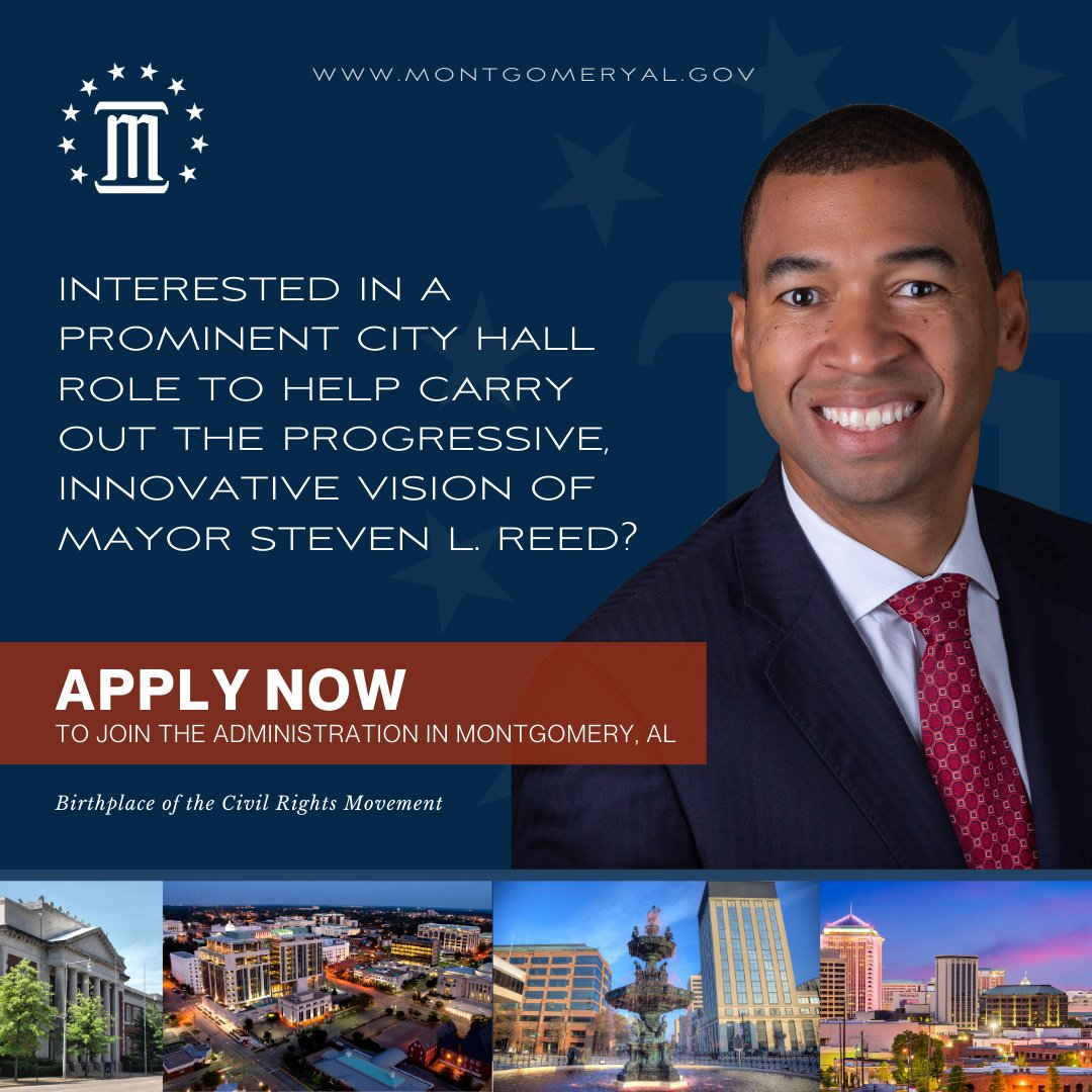 Ready to help Mayor @stevenlouisreed carry out his innovative, progressive vision for Montgomery? We're looking for a DYNAMIC Marketing & PR Manager to JOIN OUR TEAM! Apply today for this job and other career opportunities at .  #montgomeryal #jobs #prjobs