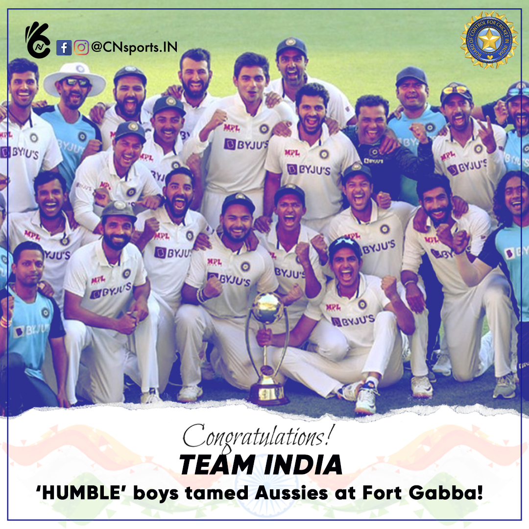 CHAMPIONS🇮🇳'Humble' boys tamed Aussies at Fort Gabba! Where would you rate this in the pantheon of great series?   #teamindia #bcci #indiancricketteam #rishabpant #india #testseries #indvsaus #truewinners #champion #myteam #BorderGavaskarTrophy #BorderGavaskar #INDIA #CNsportsIN