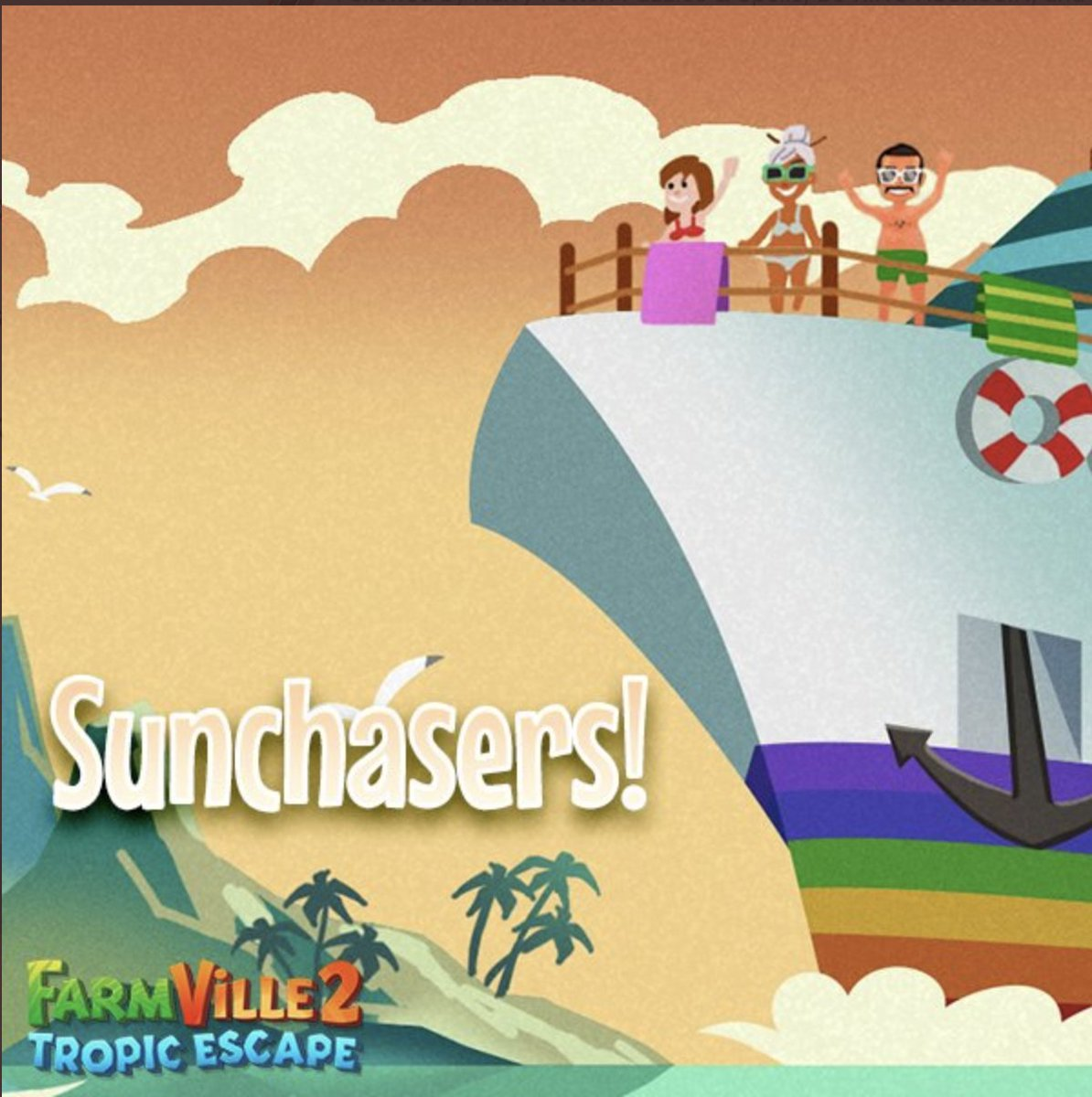 Relax and tan from home with the 🚢 Sunchasers Cruise, sailing in on @FVTropicEscape.  #FarmVille2TropicEscape 🏝  View Guide ☀️   Play now ▶️