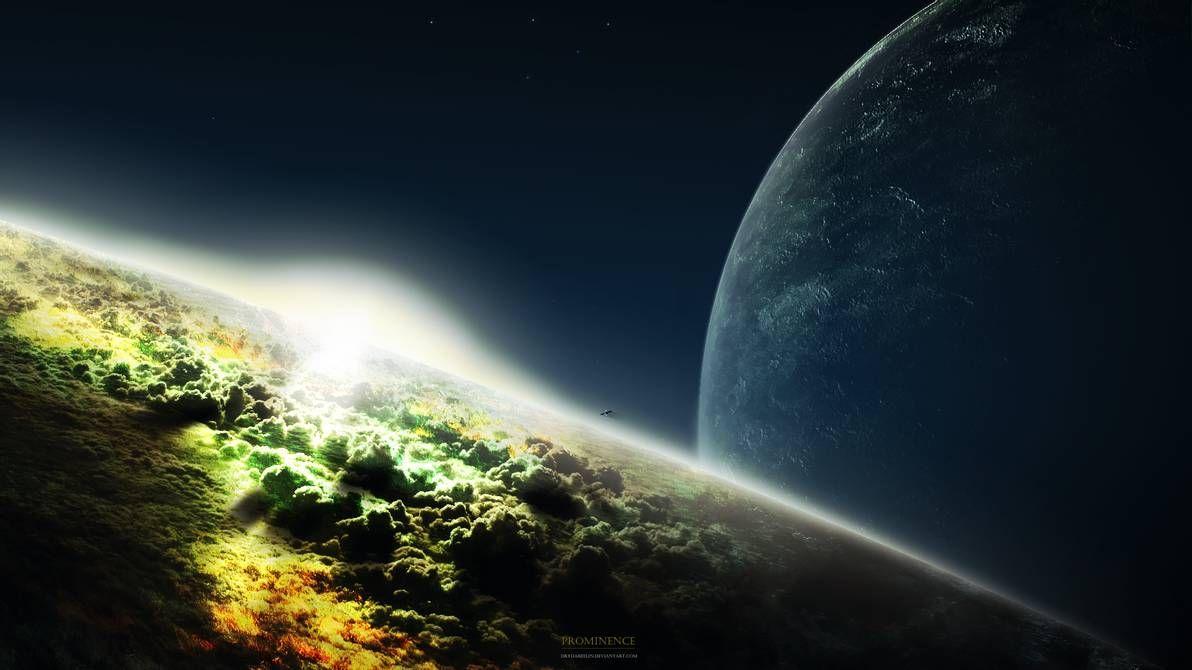 "#Space #Art: #sunrise from orbit & a dangerously close #moon… ""Prominence"" by Drydareelin https://t.co/uMKhgDA0vK via @DeviantArt"