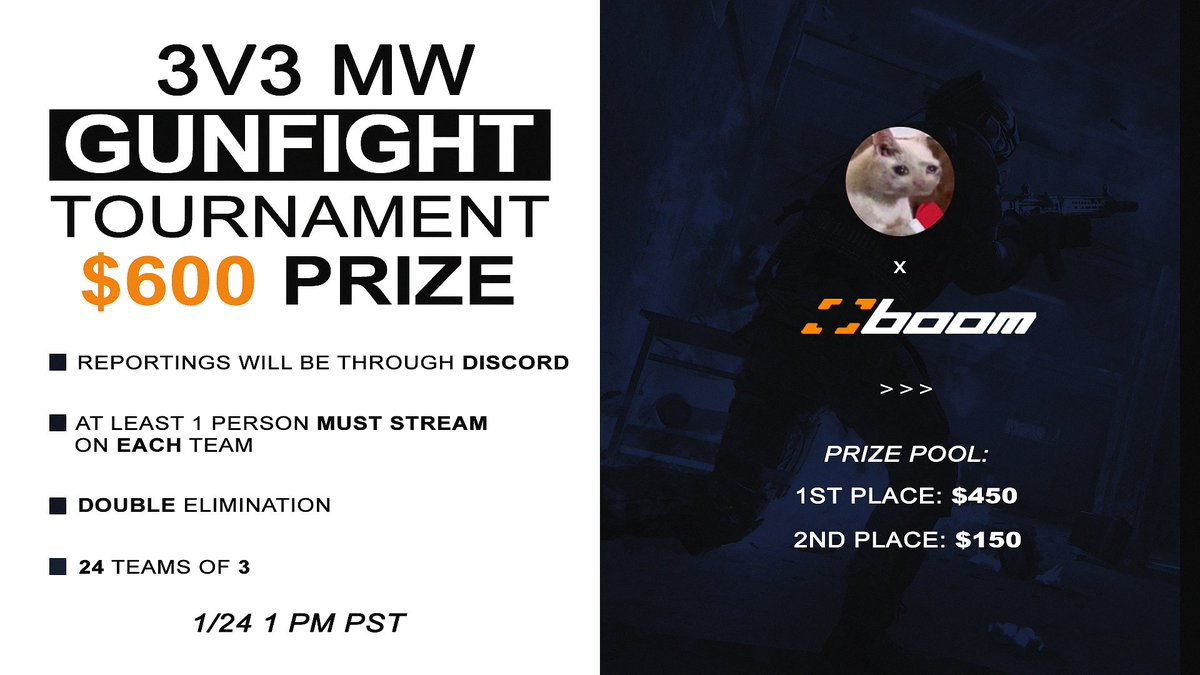 I present you guys with Classify's 3v3 MW Gunfight $600 Tournament!!   Been wanting to give back and do something fun with my community and here it is!  All the info you need is on the graphic & Good Luck to all contestants!   Fill out this Form to Enter: