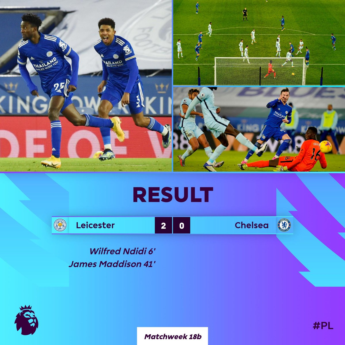 Leicester go top of the #PL with victory over Chelsea  #LEICHE