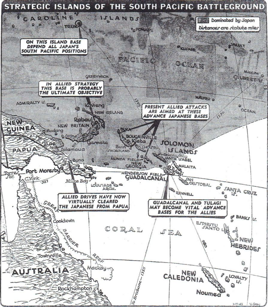 Japanese forces are preparing to evacuate from Guadalcanal, after repeated offensives have failed to break American positions on the island; New York Times map shows the growing Allied strength in the Pacific: https://t.co/oeAKXsQZ6i