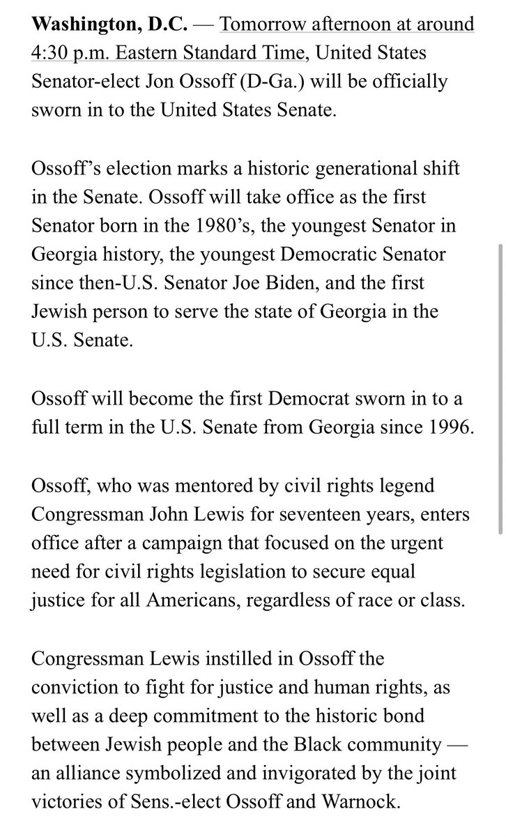 """@Ossoff will be sworn in using a book of Hebrew scripture once owned by Rabbi Jacob Rothschild, who led Atlanta's historic synagogue The Temple...""  The rabbi was a key MLK ally who encouraged ATL's Jewish community to fight for civil rights and oppose hate & intolerance. #gasen"