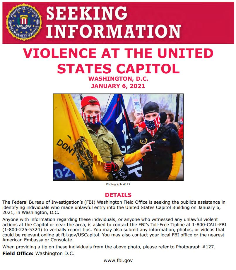 NEW: #FBIWFO is seeking publics help in identifying those who made unlawful entry into US Capitol on Jan 6. If you have info, report it to the #FBI at 1-800-CALL-FBI or submit photos/videos fbi.gov/USCapitol. fbi.gov/wanted/seeking…