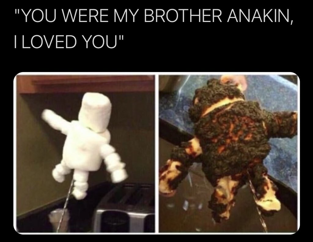He didn't have the high ground. #StarWars #AnakinSkywalker #DarthVader #ObiWan #Kenobi #RevengeoftheSith #Marshmallow #Smores #StarWarsFan #StarWarsFans #StarWarsMemes #DarthVader #Lucasfilm #BlueMilkLatte #🔵🥛☕️