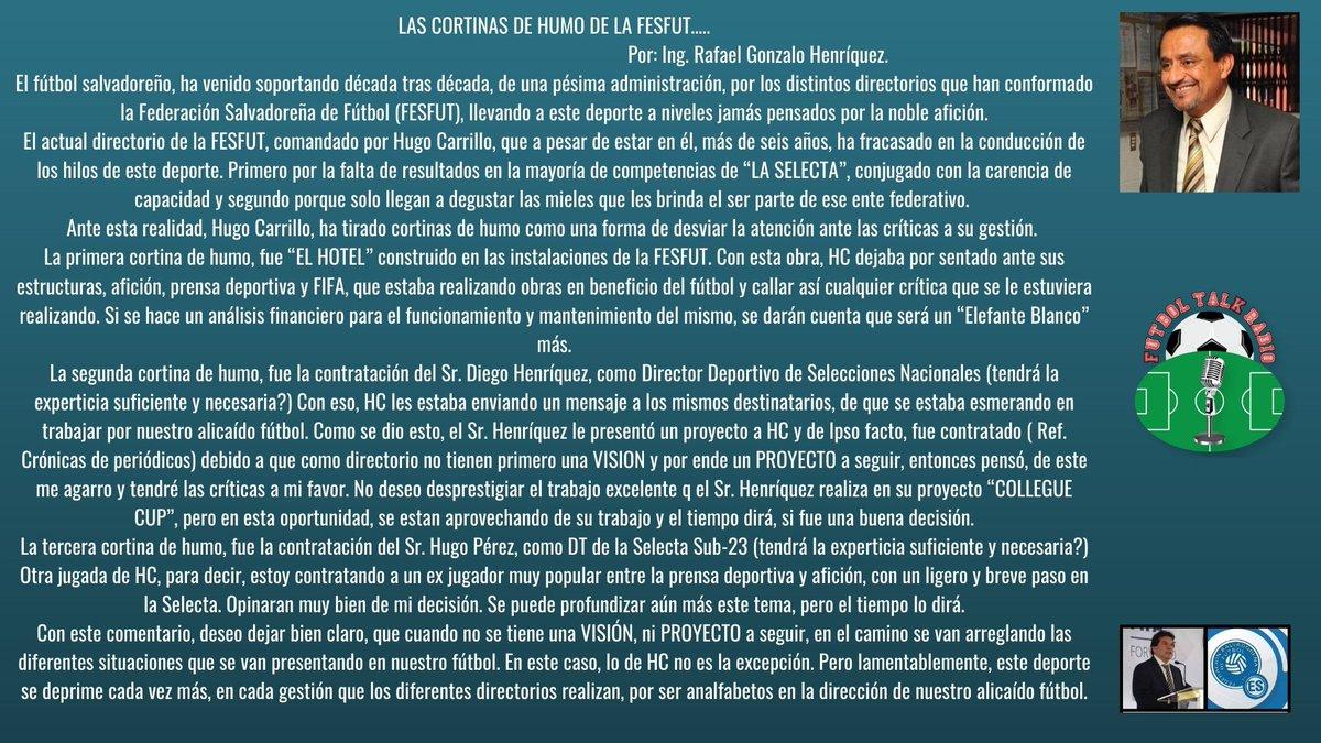 """""""LAS CORTINAS DE HUMO DE LA FESFUT"""" por Gonzalo """"Chalo"""" Henriquez.  #FESFUT #CONCACAF #futboltalkradio #soccer #futbol #santaana #losangeles #talkradio #palmdale #california #podcast #internettalkradio #worldcup #univision #espn #telemundo #futbolargentino #tycsports #elsalvador https://t.co/Oj8OdLbBHB"""