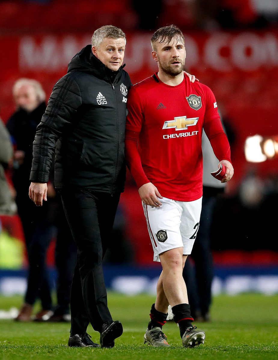 """Solskjaer: """"Luke has immense quality. You saw the few times against Liverpool when he takes the ball and drives forward. It's something that I've pushed him to do more, because we know he can do it."""" #MUFC"""