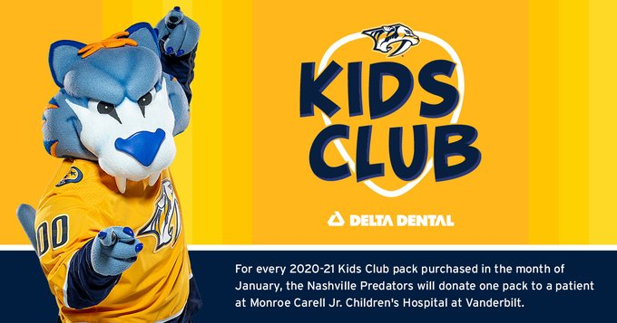 Be a part of the ✨coolest✨ club around, the Nashville Predators Kids Club!   During the month of January, we are donating one pack for every membership purchased to a patient at @VUMCchildren!  More info ➡️