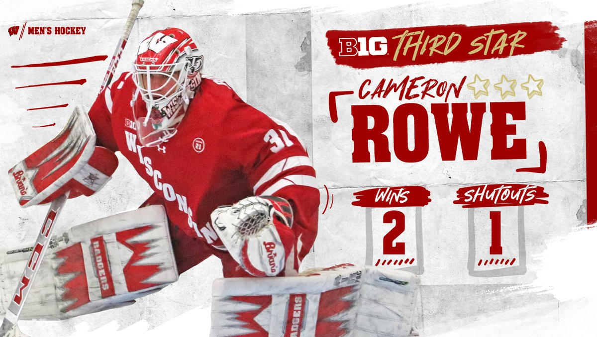 First star in our book @C_rowe00   Congrats on the third star and the first career shutout  #Badgers