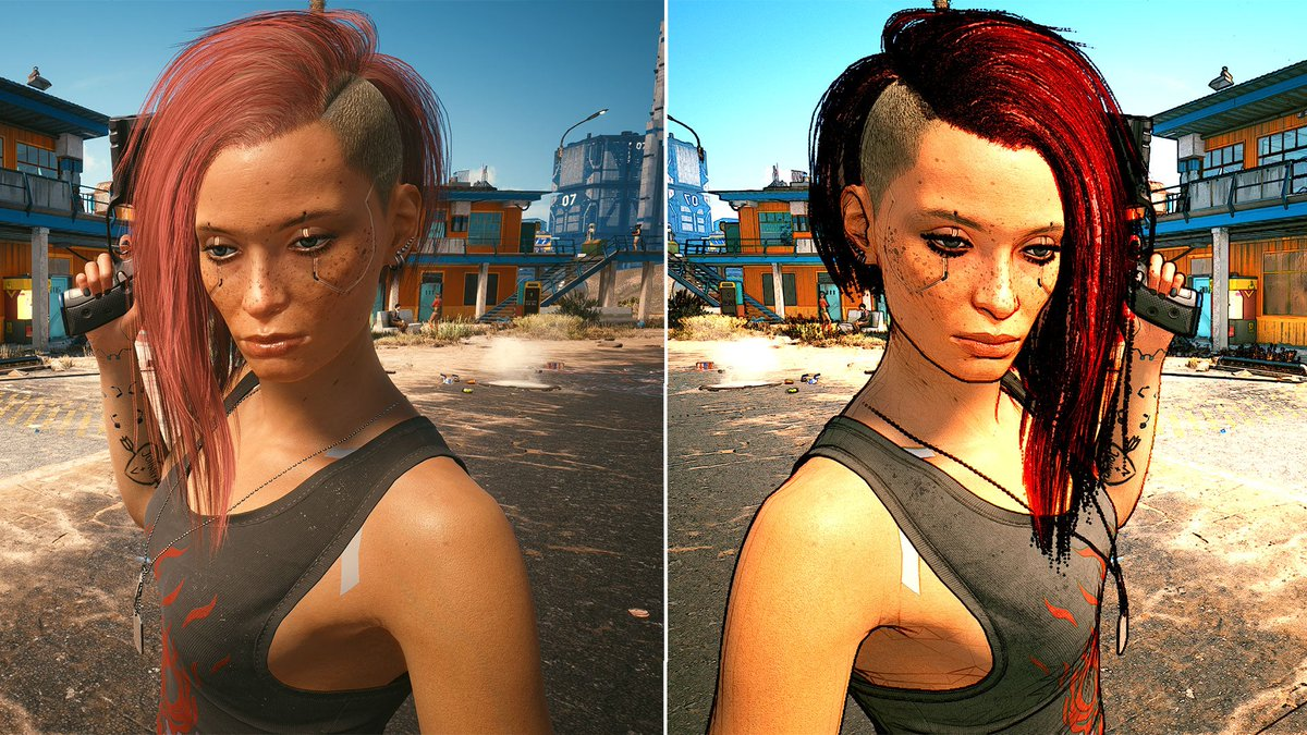 This Cyberpunk 2077 mod by Salmo gives Night City a new Borderland's cel-shaded paint job.