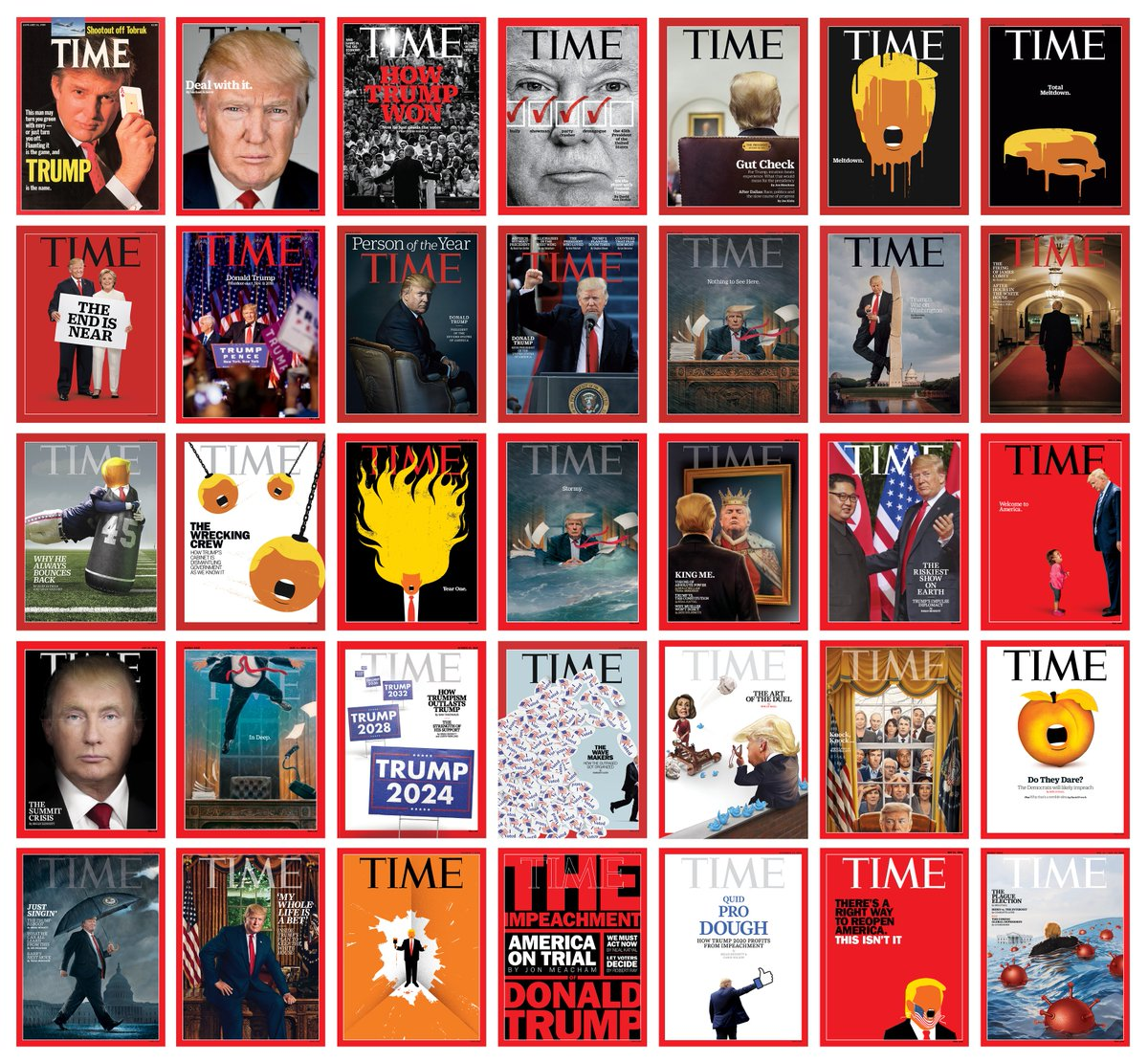 Read the story behind TIME's Donald Trump covers - he leaves office with the 4th most all-time with 35 covers https://t.co/cPZsqCQ3an https://t.co/y9l7AMUvfI