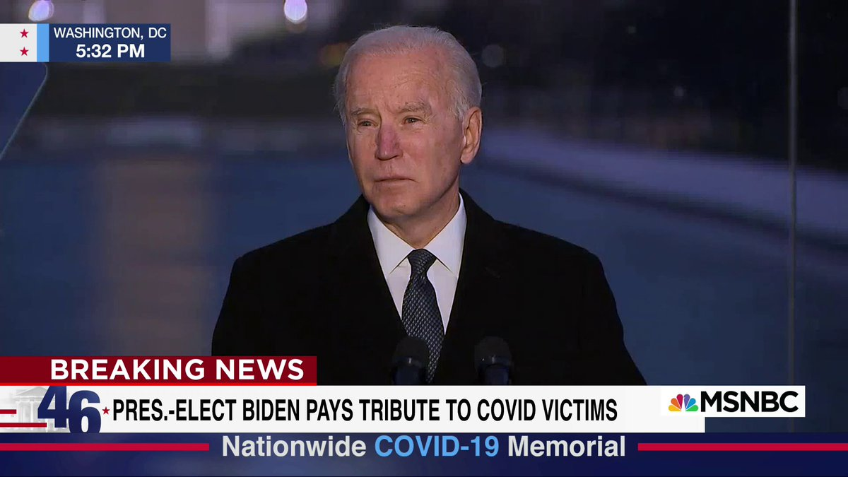 """""""To heal, we must remember. It's hard sometimes to remember, but that's how we heal. It's important to do that as a nation,"""" President-elect Biden says at the Covid-19 memorial."""