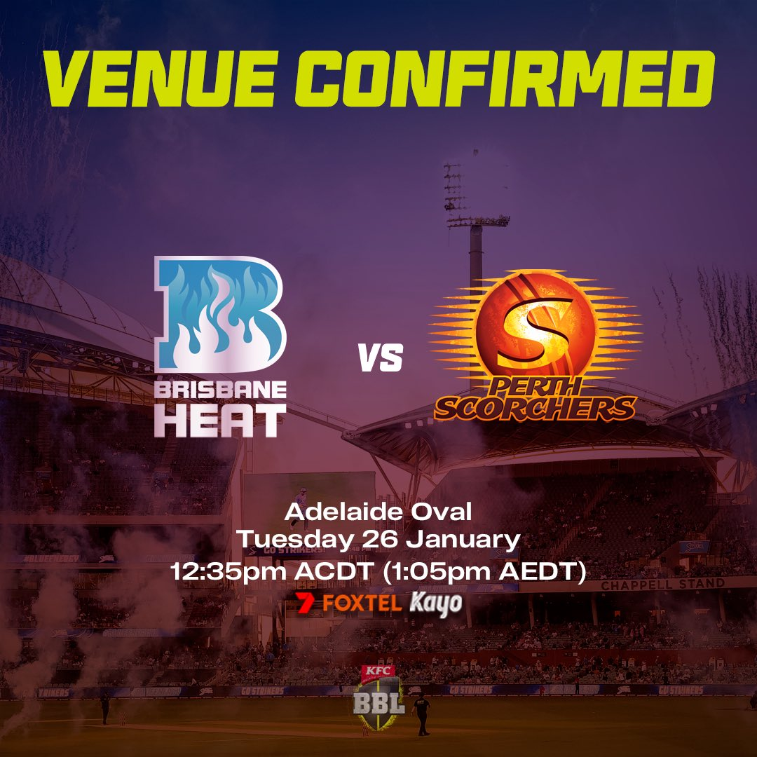 SCG ➡️ Adelaide Oval.   Tickets will go on sale January 22 for what will be the first match of a  triple-header to conclude the #BBL10 regular season.