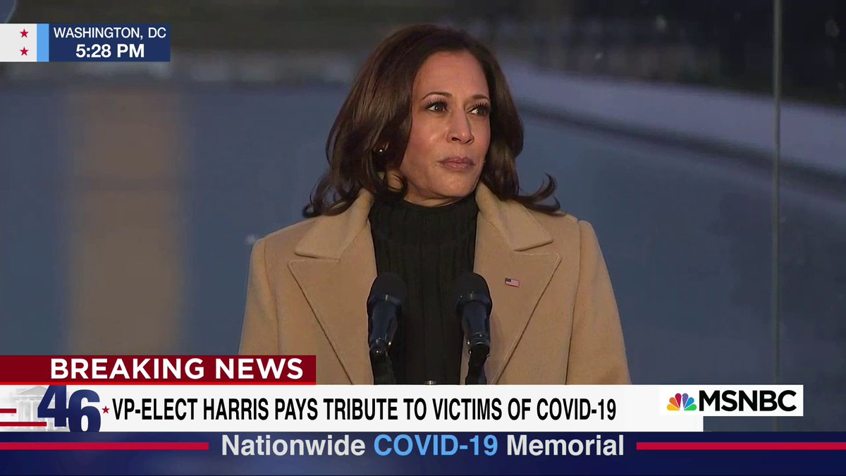 """""""Though we may be physically separated, we the American people are united in spirit,"""" VP-elect Harris says at the Covid-19 memorial."""
