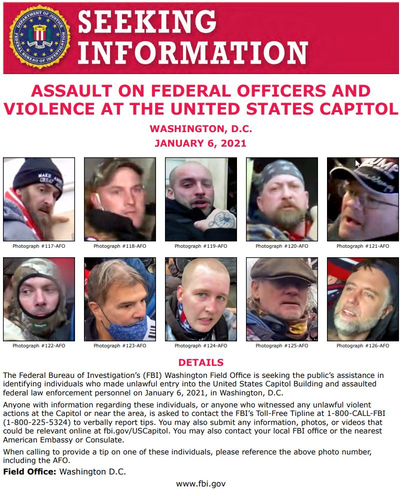 NEW: #FBIWFO is seeking the public's help in identifying those involved in assault on law enforcement officers at the US Capitol on Jan 6. If you have info, call 1800CALLFBI or submit photos/video to .