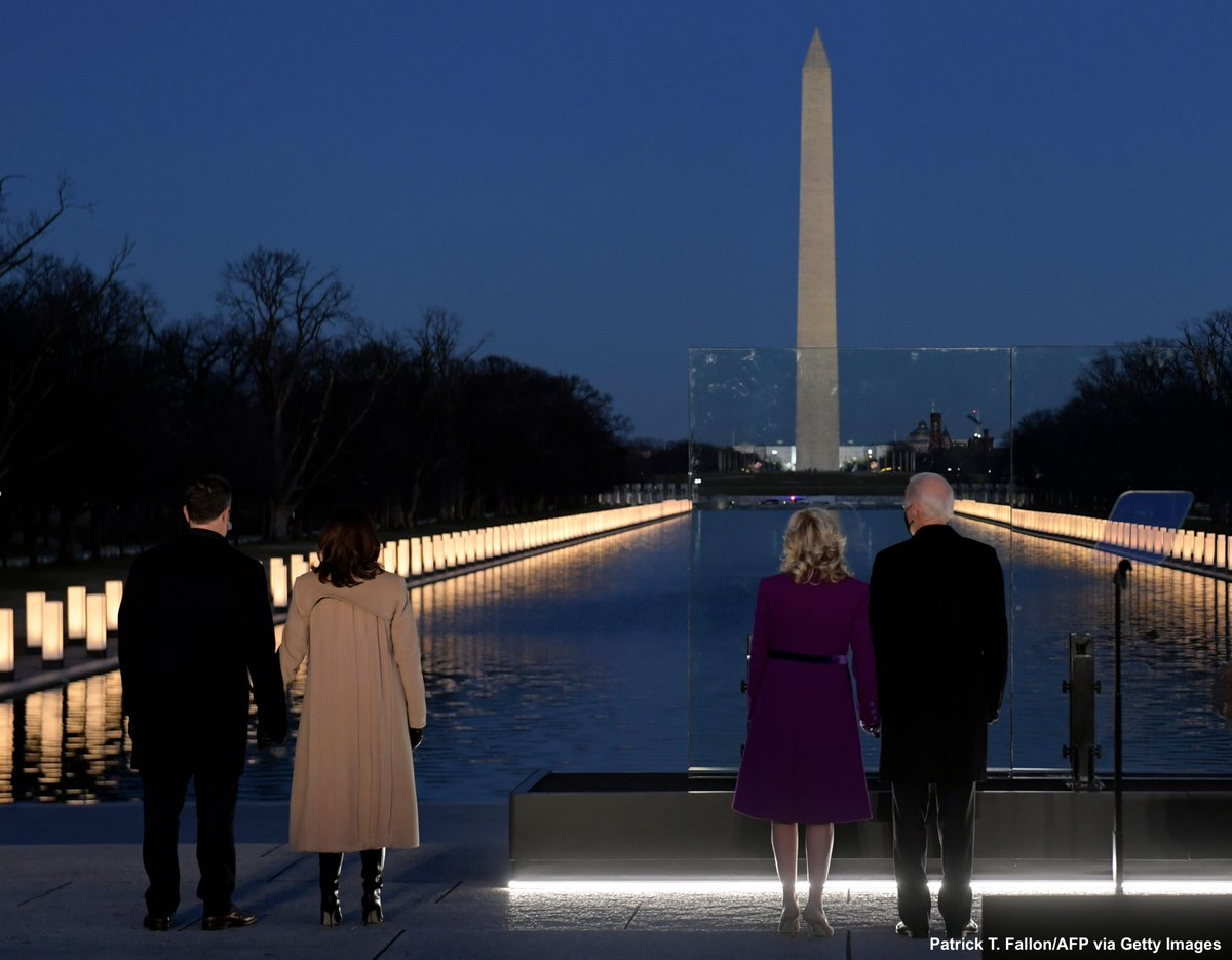 Pres.-elect Joe Biden, Vice Pres.-elect Kamala Harris attend lighting ceremony in Washington, D.C., memorializing the 400,000 lives lost so far to the COVID-19 pandemic.