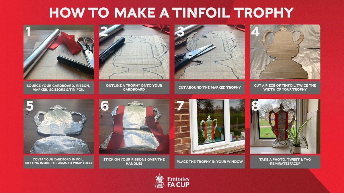 Ahead of the #EmiratesFACup fourth round, we're setting YOU a challenge from home!  Follow these steps and create your very own tinfoil trophy 🏆  When you've finished your masterpiece, send us a photo - our DMs are open 🙌