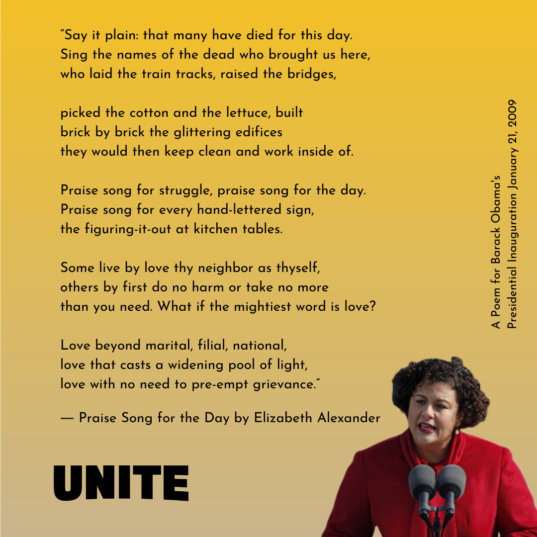 Beautiful poem by Dr. Elizabeth Alexander, a poet, writer, scholar, and President of @mellonfdn. #inauguration #president #joebiden #elizabethalexander #answeringthecall