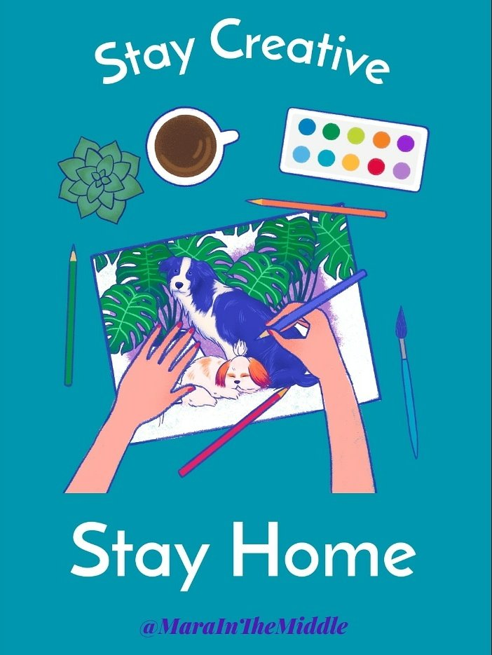 Stay Creative. Stay Home.   #AloneTogether 💜 #MaraInTheMiddle
