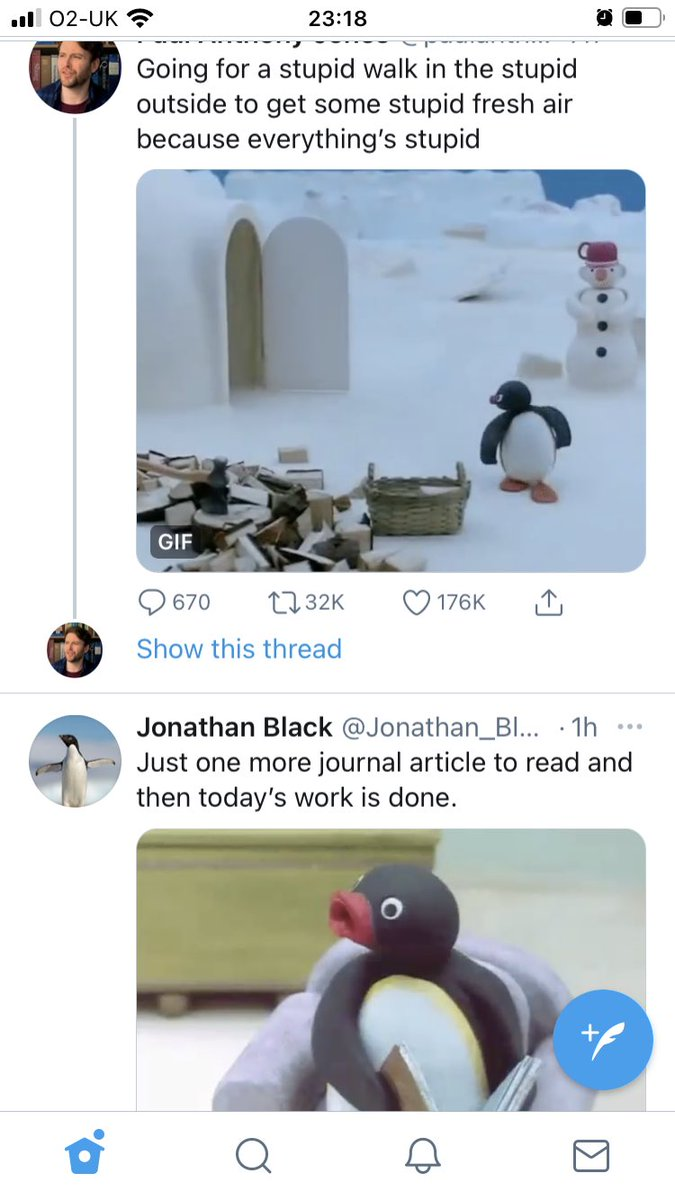What are the chances? 2 Pingu tweets appear in my feed side by side! 🐧 #LittleThings #Smile