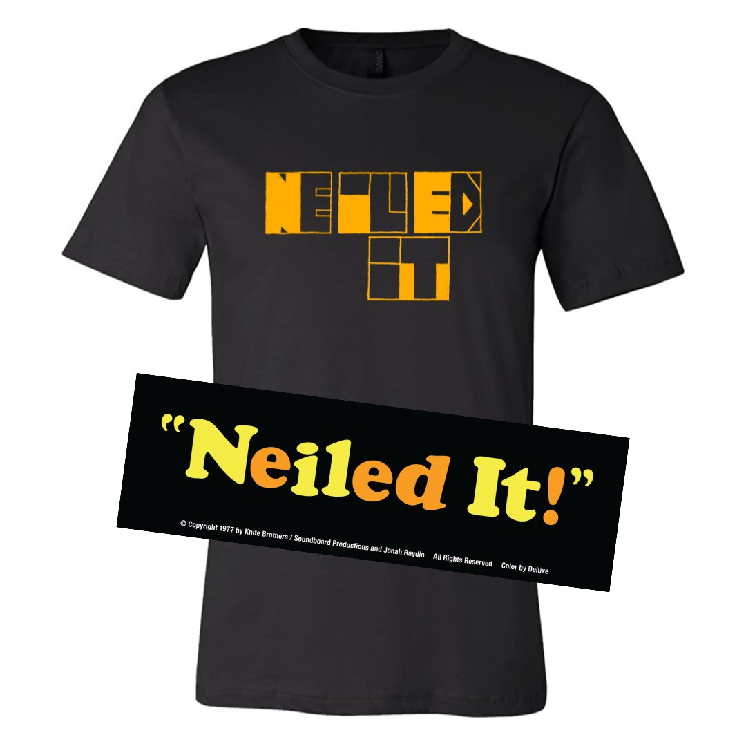 NEILED IT shirts and stickers are now available for preorder. All proceeds will be donated to @LAFamilyHousing in @NEILMAHONEY's name. Massive thanks to Richard Colman and @subpop2000 for their design work. #NeiledIt