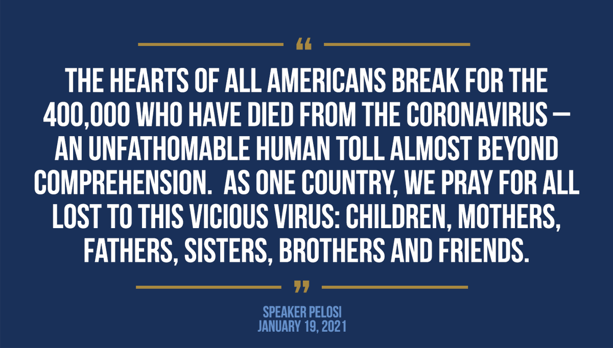 As we mourn the tragic milestone of 400,000 American lives lost to the coronavirus, we must come together to move past the failed Trump response to crush the virus and deliver robust, real relief now. speaker.gov/newsroom/11921
