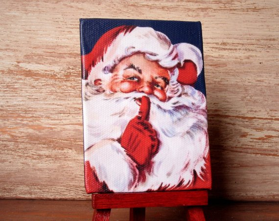 "Miniature #Christmas Canvas ""Santa Claus saying SH-H-H"" for Your Dollhouse -   #christmas"
