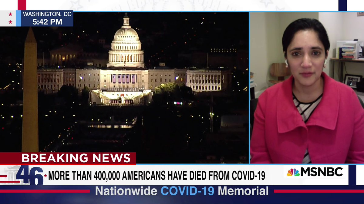 """WATCH: @kavitapatelmd reacts w/ @NicolleDWallace to the Covid memorial held by Biden and Harris: """"It was so important to have this moment, those lights, to see that those lives are acknowledged. They all mattered... We needed this moment to just be able to grieve."""""""