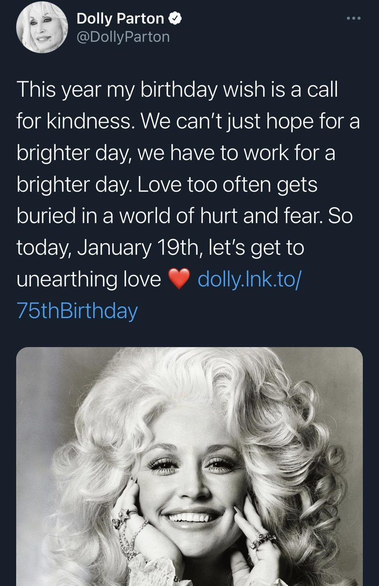 #DollyParton was born #OnThisDay in 1946, a wonderful artist & a stalwart ally to the #LGBTQ community; on her birthday, #Dolly is calling for #kindness; #HappyBirthdayDolly~! #DollyDay