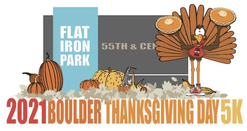 """Eyes on the Pies""  2021 @alpinebank #Boulder #ThanksgivingDay 5K logo thanks to @nelsonam09   #run #community #ourbesteventyeartocome #bouldercolorado #werunboulder #harvestofhope"