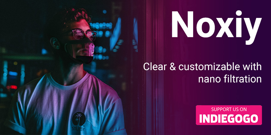 NOXIY- Next Gen Mask Transparent & Customizable https://t.co/MvVuJ25gOo @PuronlyFr  #indiegogo #crowdfunding #crowdfund #masks #mask  #covid #facemask #transparentmask #StaySafe  #masksforsale #WearAMask #reusable #style #fashion  #cleanair #airpurifier #airfilter #protectionmask https://t.co/hEvOW7k189