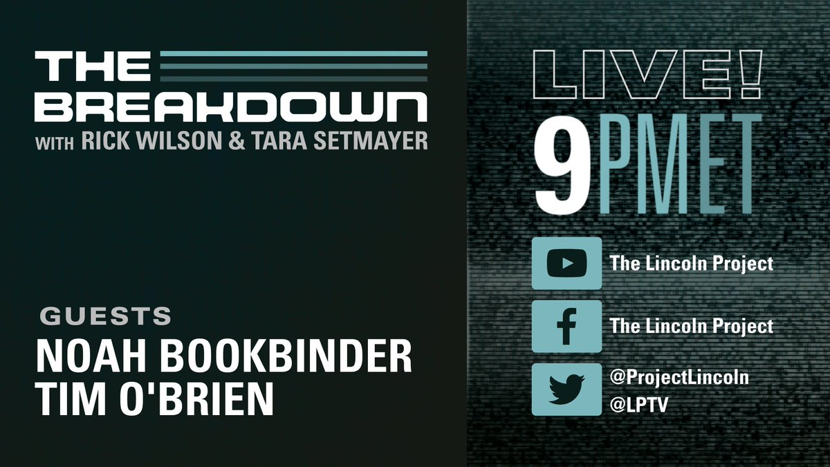This is it. The last day of the Trump Administration. Join The Breakdown LIVE on #LPTV at 9pm ET with @TheRickWilson & @TaraSetmayer  Tonight's guests: ▪️ @NoahBookbinder, Executive Director of @CREWCrew ▪️ @TimOBrien, @BOpinion Columnist  👉 Questions? Tweet #AskTheBreakdown