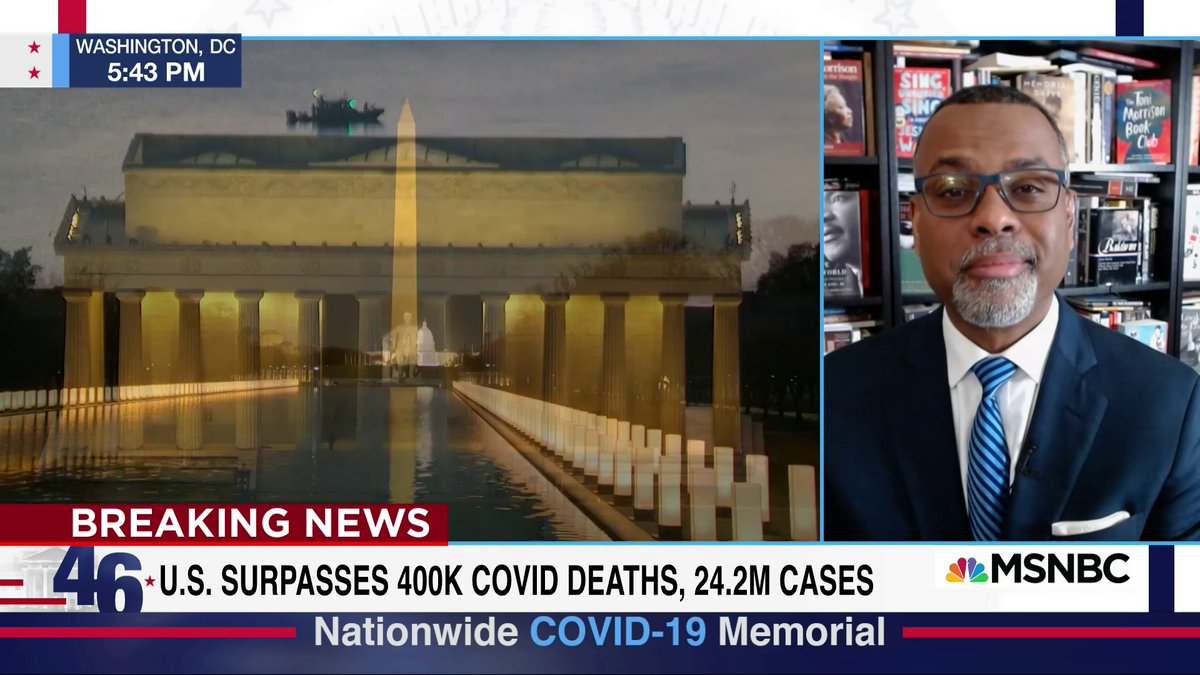"""""""The selfishness that has suffocated the land was held at arm's length for a moment. We've needed a national ritual to mourn, so that we can think about the mourning... Just for a moment, the nation shared their grief """" - @esglaude shares a personal story w/ @NicolleDWallace"""