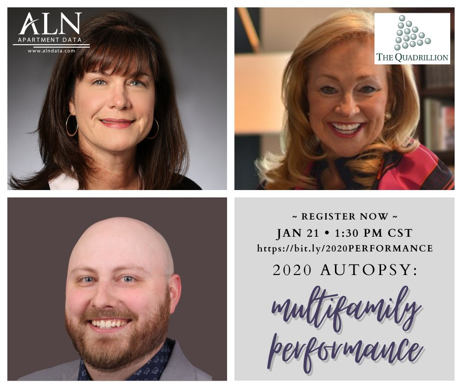 #Thursday - Register for this exciting webinar with ALN Apartment Data and The Quadrillion, talking 2020 #multifamily performance and much more!