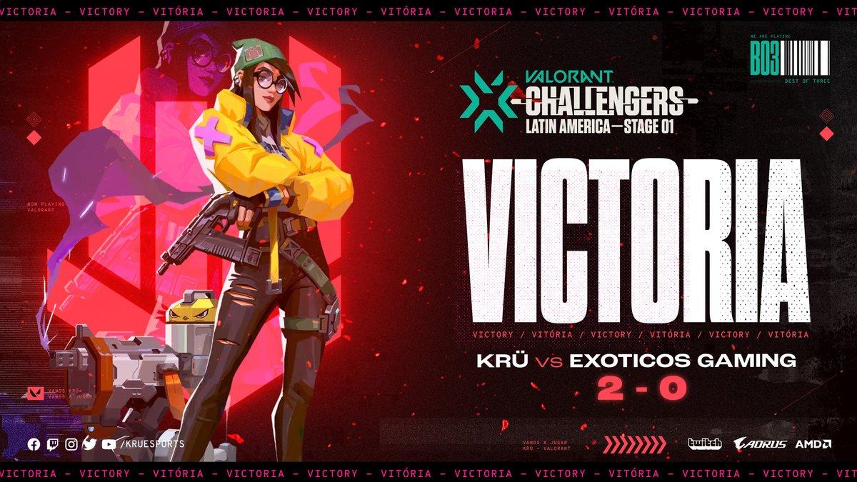 VICTORIA! VICTORY!✨  Nuestro equipo se afianza con otra conquista! Esta vez frente a Exoticos Gaming🔥  Our team takes hold with another conquest! This time in front of Exoticos Gaming🔥  #VamosAJugar 🤟 @VALORANTLATAM