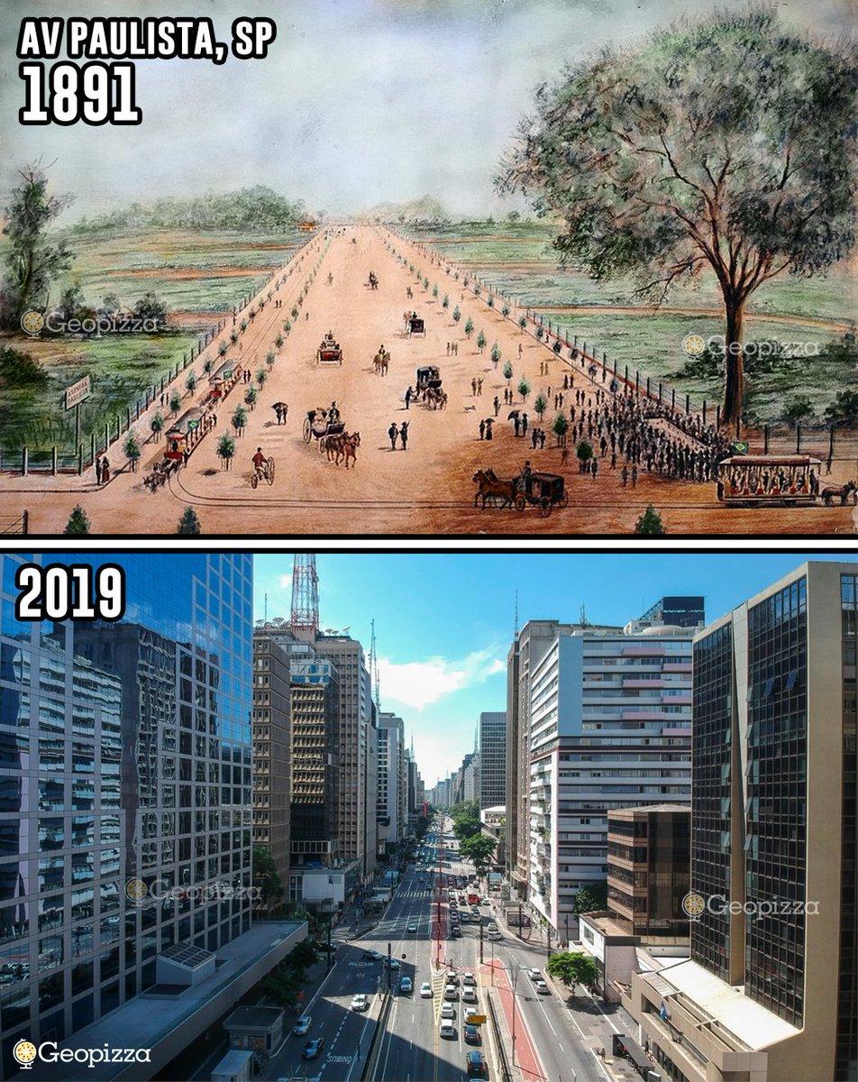 RT @Geopizzza: A Avenida Paulista em sua inauguração em 1891 e recentemente. https://t.co/z39sNvefaY