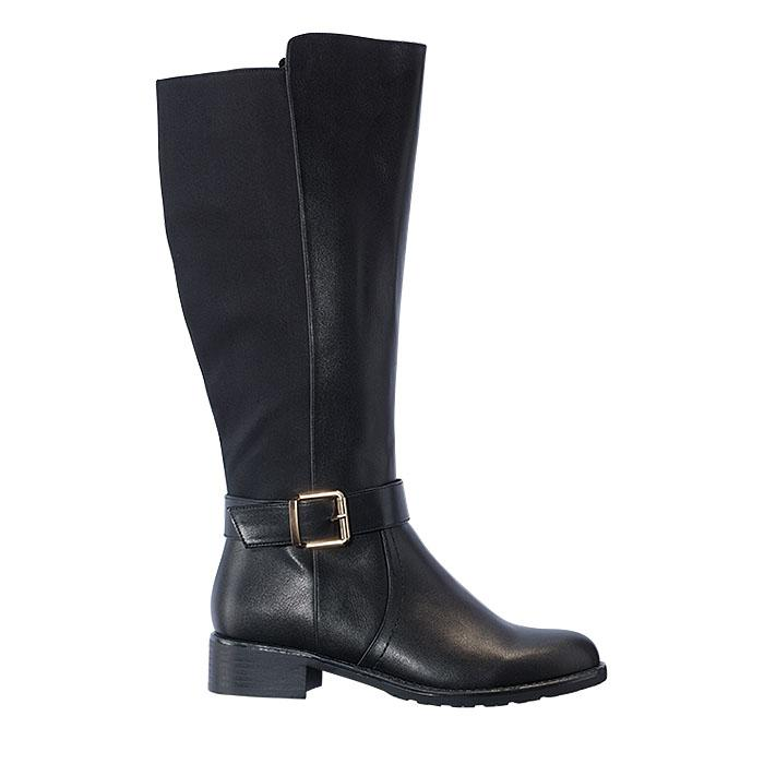 Reboot your winter style. Black pull-on boot with full side zipper and metal buckle detail on the outside. #boots #tallboot #blackboots #tallblackboots #winter #fashion