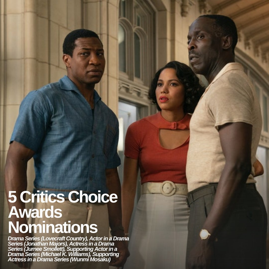 #LovecraftCountry is up for 5 Critics Choice Awards nominations, including Best Drama series! Huge congratulations to the @lovecrafthbo team, @MishaGreen, Jonathan Majors, @jurneesmollett, @bkbmg, and @wunmo! #CriticsChoice #TV #HBO