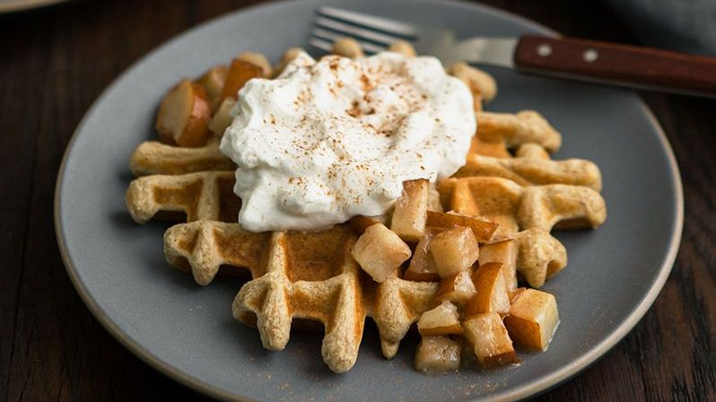 Remember, just because California pears aren't in season now doesn't mean you can't enjoy your favorite fruit. Canned #CApears are available year round! To get your fix we suggest trying this Multigrain waffle topped with pears and whipped cream. :Recipe