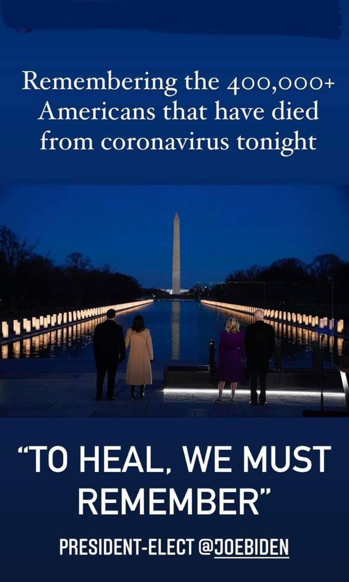 As America mourns the loss of more than 400,000 souls to COVID-19, We are all coming together as part of the Nationwide COVID-19 Memorial and Lighting Ceremony to honor their memory. #memories #COVIDMemorial #inauguration2021 #change