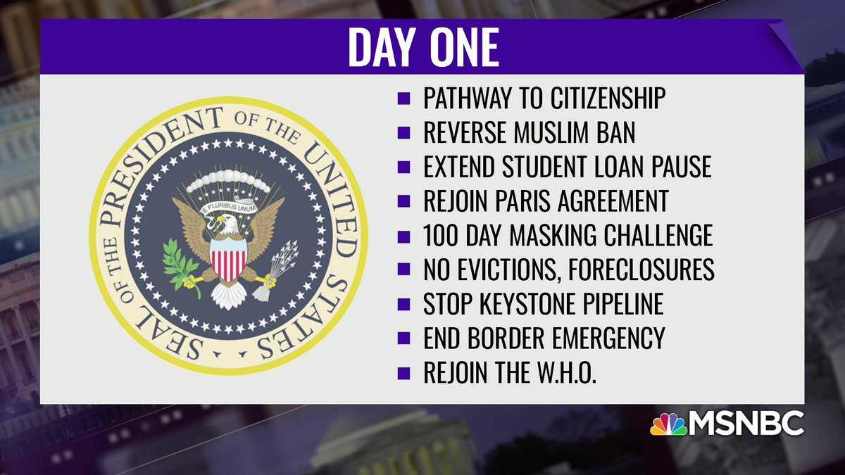 Replying to @thereidout: Here's a look at Biden's agenda on day one. #TheReidOut