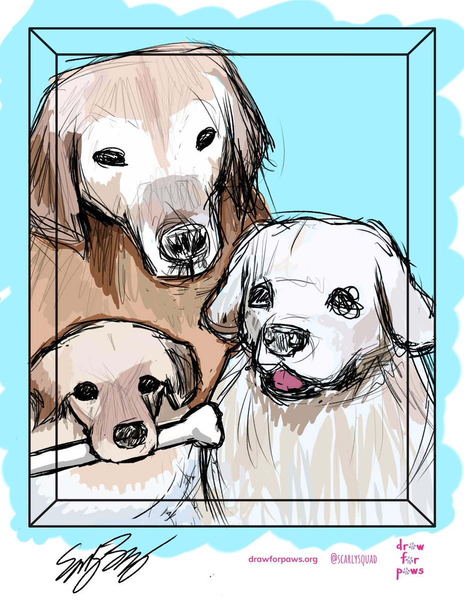 Have you ordered your @scarlysquad portrait yet? Our artists are standing by! #AdoptDontShop #kidartists #dogs #cats #animals #rescuedog