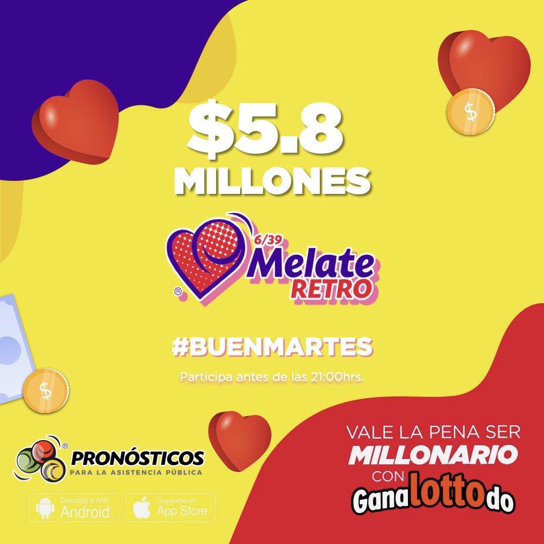Esperamos que estés teniendo un #BuenMartes 🥳 solo falta que juegues Melate Retro para que sea excelente y te lleves los $5️⃣,8️⃣0️⃣0️⃣,0️⃣0️⃣0️⃣ https://t.co/ji5ZfNeLYP https://t.co/mY8glhjTK6