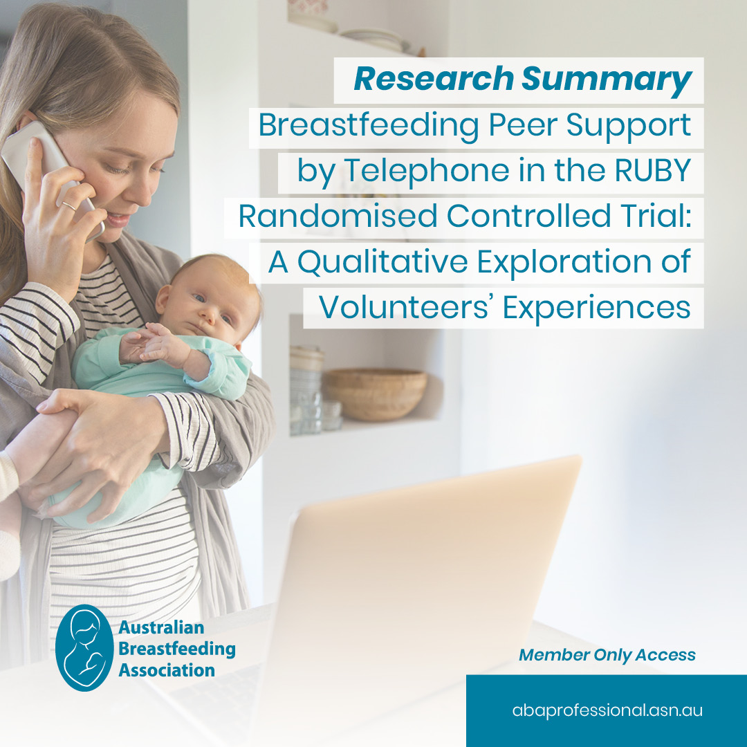 This research summary is of a qualitative study which explored the motivation and experiences of volunteers who participated in the Ringing Up about Breastfeeding earlY (RUBY) trial.      #peersupport #rubytrial #breastfeedingsupport #volunteer